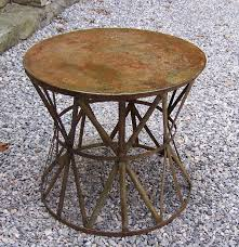 vintage round metal patio table with weathered painted surface c1920 excellent condition measures 27 inches round and 24 inches high