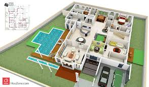 house floor plans with pool with addon 3d floor plan