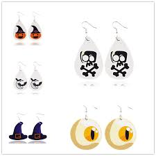 ZWPON <b>Halloween Pumpkin</b> Vegan Leather <b>Drop</b> Earrings Terror ...