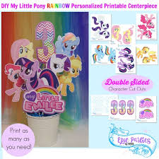 my little birthday printable little pony personalized centerpiece equestrian little pony decorations rainbow epic parties by revo