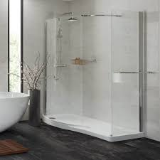 mira leap 1400 x 800mm curved walk in shower enclosure 5mm glass with tray right hand entry
