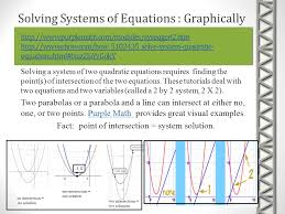 fact point of intersection system solution 15 solving systems of equations algebraically