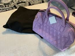 nwt vera bradley quilted leather satchel marlo w dust cover lavender