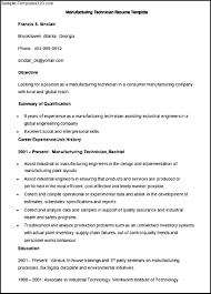Manufacturing Technician Objective Additional Training Or Exposure Manufacturing  Technician Resume Manufacturing Technician Resume Semiconductor ...