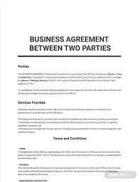 Loan agreement between microfinance organization and borrower therefore, in moments that involves money and a second party, it is natural to be careful and. Business Agreement Between Two Parties Template Word Doc Apple Mac Pages Google Docs
