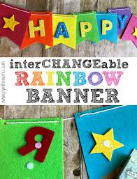 make your own diy felt banner with rainbow felt and interchangeable velcro letters so that you