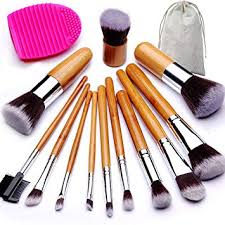 beakey makeup brush set bamboo handle premium synthetic kabuki foundation blending blush eyeshadow concealer powder
