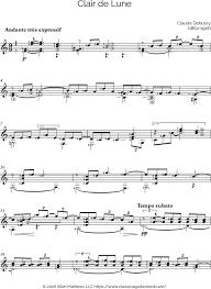 clair de lune sheet music guitar free classical guitar sheet music claude debussy clair de la lune