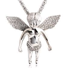 pg100 jewelry men s 316l stainless steel angel pendant white diamond