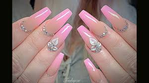 Pink Nail Designs 2019 New Nail Art 2019 Nail Technician Tinh Yeu Ombre And 3d Shape Coffin 552