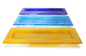 large rectangle fused glass tealight holder soap dish