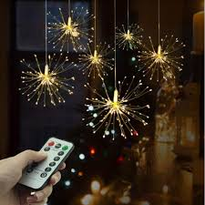 Twinkle Lights Pictures Us 9 93 35 Off Hanging Fireworks String Lights Leds Diy Copper Wire Christmas Lights Multicolor 8 Mode Twinkle Light Powered By Aa Battery On