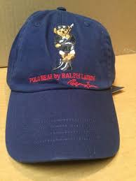 polo ralph lauren men cotton chino dive bear baseball cap hat leather strap navy for