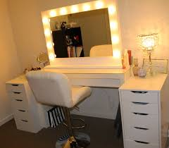 rectangle white wooden makeup vanity table with drawers and