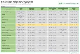 Ferienkalender 2019 2020 Download Freewarede
