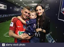 Marco Verratti and his wife Laura Zazzara of Paris Saint Germain celebrate  winning the National Cup Final match between Angers SCO and Paris Saint  Germain PSG at Stade de France on May