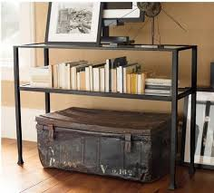 narrow black console table. Small Black Wrought Iron Narrow Console Table Having Clear Glass Top And Shelf Plus Vintage Metal Box On Wooden Floor B