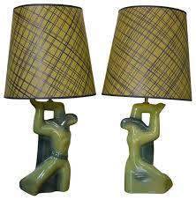 consigned pair heifetz mid century biomorphic ceramic lamps fiberglass shades
