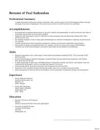 Resume Summary Template Custom Resume Entry Level Software Engineer Resume Summary Developer
