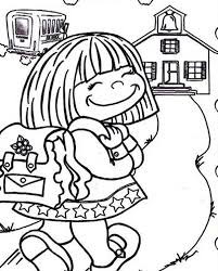 Small Picture Cute Little Girl on Her First Day of School Coloring Page