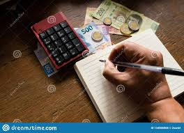 Budget Salary Calculator Money Mexican Pesos Making A Budget Stock Photo Image