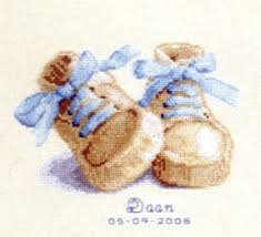 Vervaco Cross Stitch Charts Baby Boots Birth Sampler 18 Count Aida