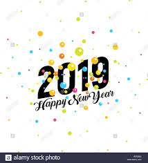 2019 Happy New Year vector banner. Colorful falling circles ...