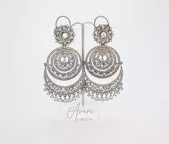 indian earrings oxidised silver