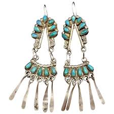 1910 1920s navajo sterling silver turquoise dangle cer chandelier earrings