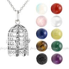 details about fashion 28 silver birdcage hollow locket pendant with gemstones necklace set