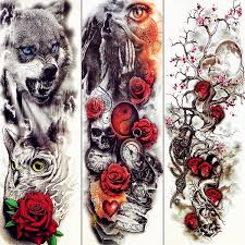 Summer Style Temporary Tattoo Black Roar Wolf Iron Chains Tatoo Stickers Moon Body Arm Men Boy Legs Red Rose Watercolor Tattoos