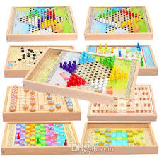 Wooden Multi Game Board Custom Flying Chess Children'S Draughts Wooden Multi Purpose Game Chess