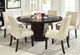 dining room modern 60 inch rees espresso round dining table with lazy susan in from