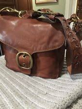 COACH BLEECKER LG WHISKEY Leather TATTERSALL Flap PURSE HANDBAG SATCHEL
