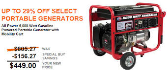 Home Depot Up to 29% off Portable Generators Prices Start at