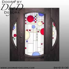 custom contemporary leaded glass door
