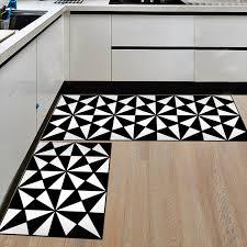 2pcs set black and white flannel floor mats for kitchen anti slip kids bedroom carpet entrance hallway area rug xzbb15446