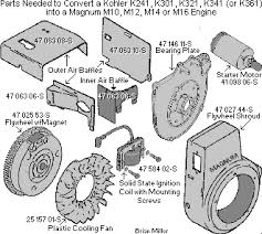 professional kohler engine rebuilding, buildups and modifications Kohler Wiring Diagram Manual to convert a kohler k series 10 16hp engine into a magnum engine, the parts that's needed are magnum bearing plate; starter motor; flywheel (w external