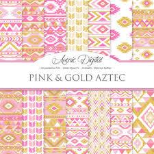Boho Patterns Beauteous Pink And Gold Aztec Digital Paper Boho Seamless Patterns Backgrounds