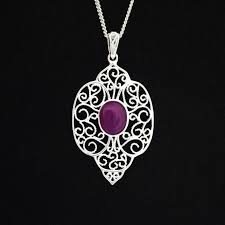 preserved flower jewelry silver purple necklace