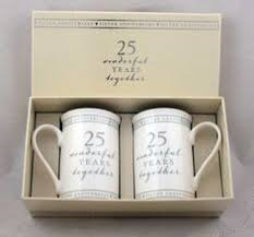 show dels for 25th anniversary gift set of 2 china mugs 25 wonderful years anniversary gifts