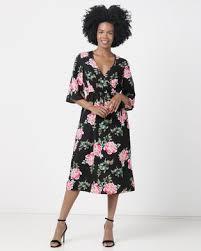 london hub fashion multi fl print floaty dress black