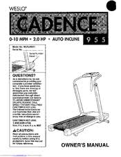 weslo cadence 955 user manual pdf