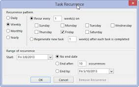 manage recurring tasks in outlook 2016