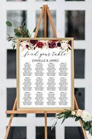 Poster Seating Charts For Wedding Receptions Marsala Floral Seating Chart