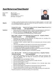 Resume For Food Technologist Free Resume Example And Writing