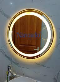 Bán gương đèn led viền inox vàng siêu sang