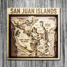 Nautical Charts San Juan Islands Wa San Juan Islands Wa Wood Map 3d Nautical Wooden Chart