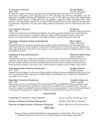 Sample Broadcast Technician Resume Amazing Sample Resume For Electronics Technician Zromtk