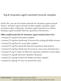 top 8 insurance agent assistant resume samples in this file you can ref resume materials insurance agent sample resume